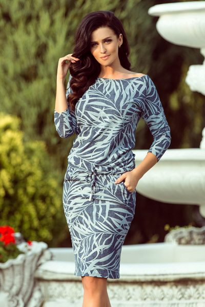 Modré športové šaty s viazaním a vreckami a listovým vzorom