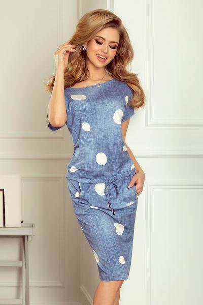 Modré Jeans športové šaty s krátky rukávom a spadnutými ramenami a bielymi bodkami