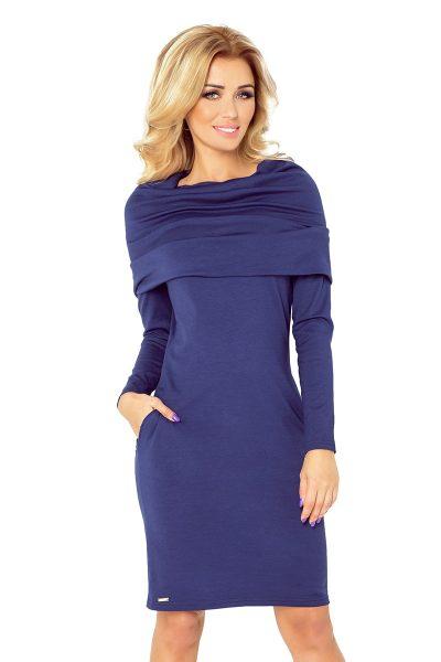 Modré NAVY šaty s vreckami a golierom