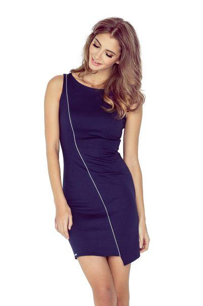 Modré NAVY asymetrické šaty s lemovaním