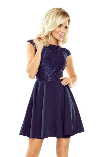 Modré NAVY elegantné čipkované šaty