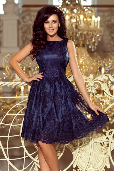 Modré Navy elegantné vyšívané krátke šaty