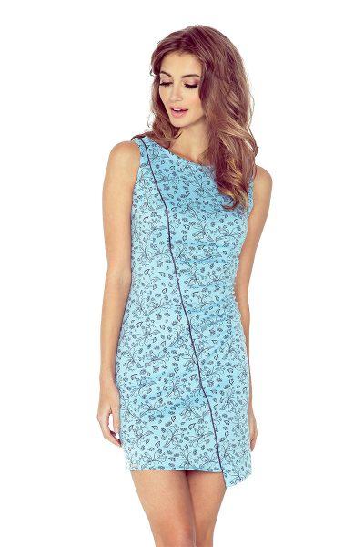 Modré asymetrické šaty s lemovaním a čiernymi kvetmi