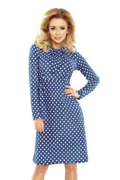 Modré bodkované lichobežníkové šaty s viazankou na krku