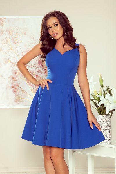 Modré elegantné šaty  s výstrihom v tvare srdca