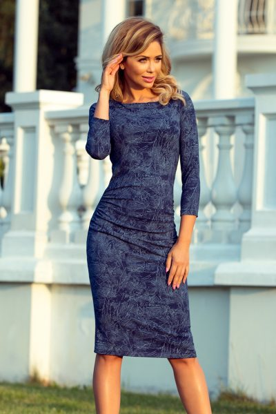 Modré elegantné krátke šaty s rifľovým vzorom