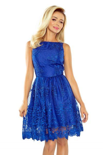 Modré elegantné vyšívané krátke šaty