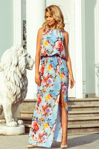 Modré farebné letné maxi šaty s viazaním na krku a vzor z kvetov