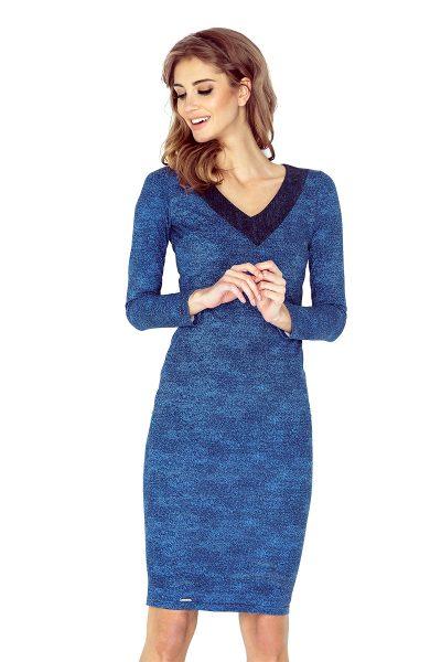 Modré rifľové šaty s výstrihom do V