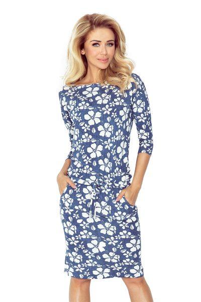 Modré rifľové športové šaty s viazaním a vreckami a kvetmi