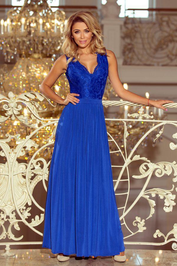 Modré spoločenské šaty s čipkovaným výstrihom