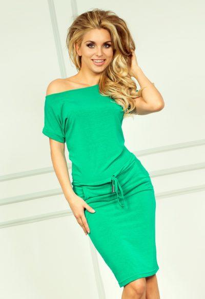 Neónovo zelené športové šaty s krátkymi rukávmi