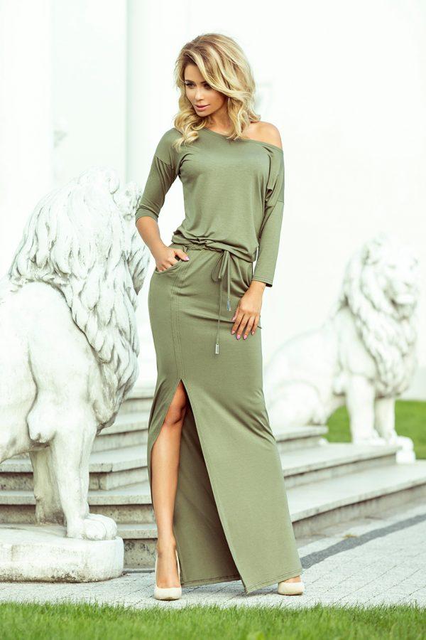 Olivovo zelené maxi športové šaty so spadnutými ramenami