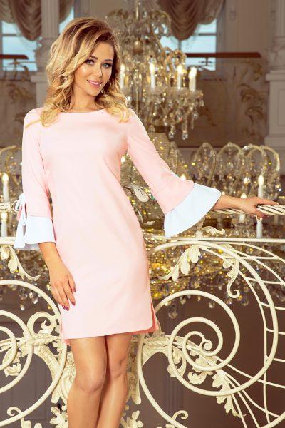 Pastelovo ružové šaty s bielymi rukávmi