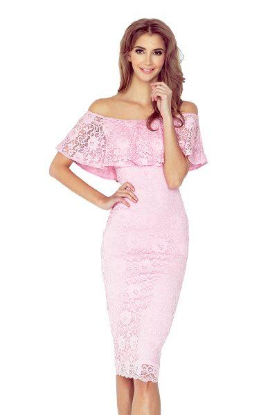 Pastelovo ružové španielske čipkované šaty so spadnutými ramenami