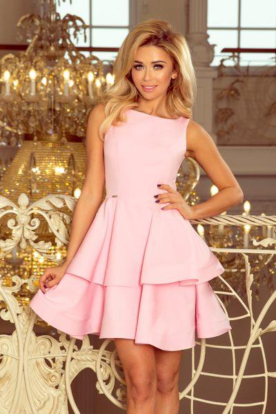 Pastelovo ružové elegantné šaty s dvojitou sukňou