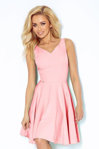 Pastelovo ružové elegantné šaty  s výstrihom v tvare srdca