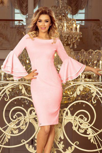 Pastelovo ružové elegantné šaty so španielskymi rukávmi