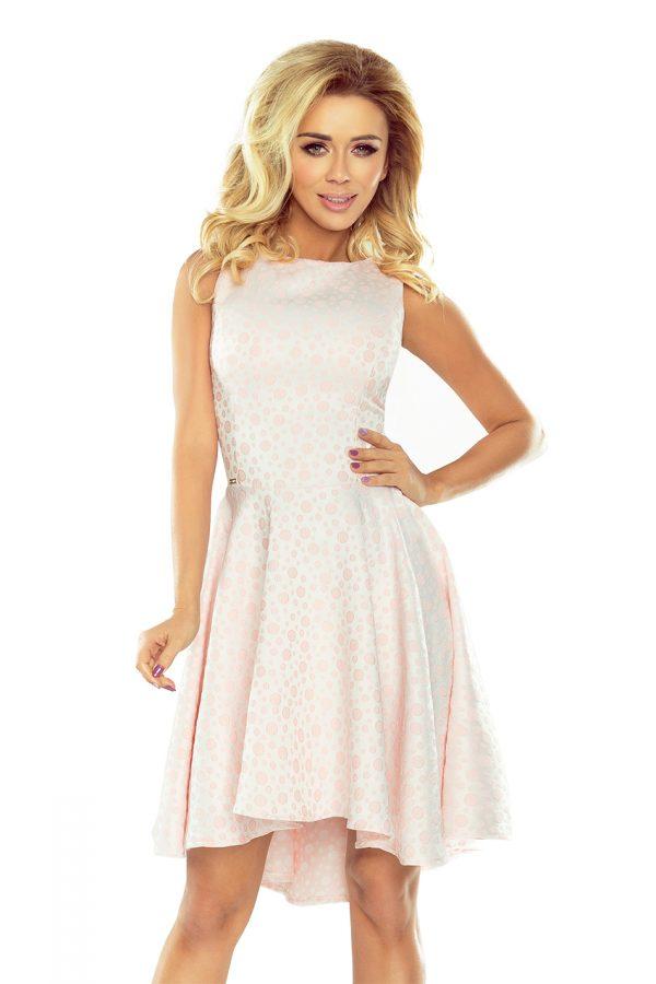 Pastelovo ružové krátke šaty s predĺženou sukňou vzadu