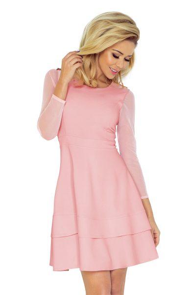 Pastelovo ružové rozšírené šaty s rukávmi