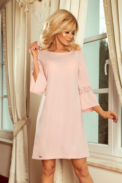 Pastelovo ružové voľné šaty s čipkou na rukávoch
