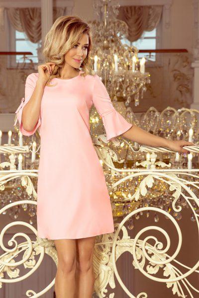Pastelovo ružové voľné lichobežníkové šaty s rozšíreným rukávom