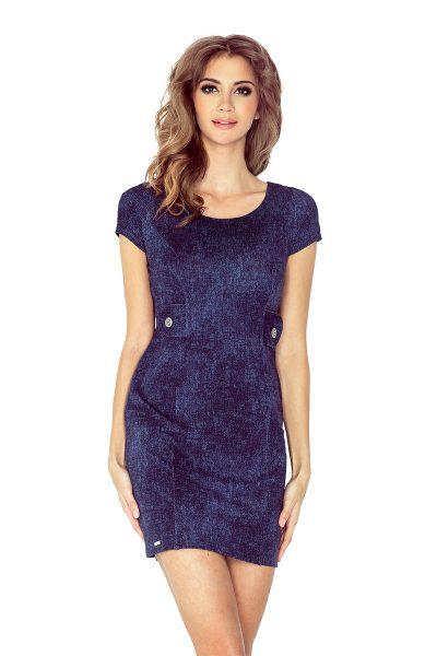 Rifľové modré krátke šaty s dvoma gombíkmi v páse