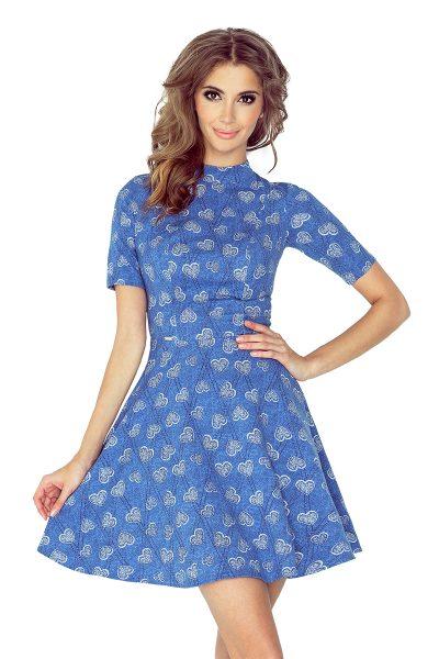 Rifľové modré letné šaty s rozšírenou sukňou a golierom