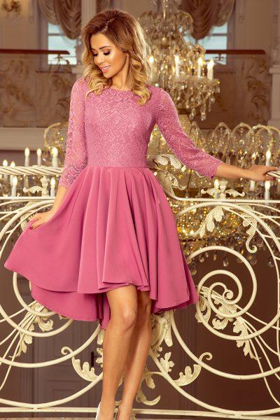 Ružové čipkované šaty s predľženou sukňou