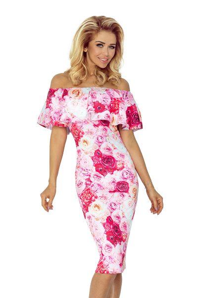 Ružové španielske šaty so spadnutými ramenami a kvetmi