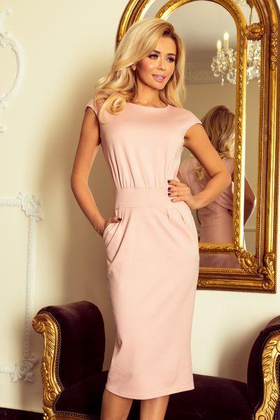 Ružové elagantné šaty so zvýšeným pásom a vreckami