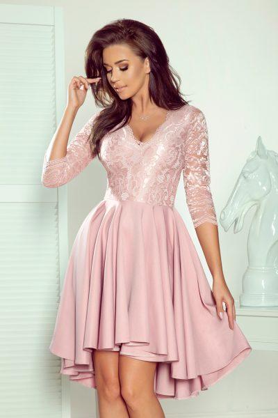 Ružové spoločenské šaty s čipkovaným výstrihom a asymetrickou sukňou
