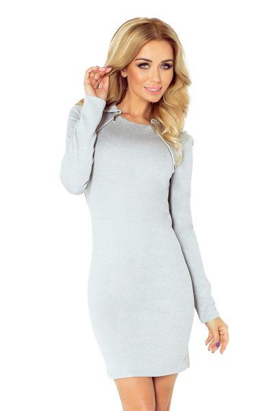 Sivé šaty s dvoma zipsami a malým golierom