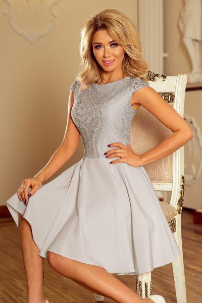 Sivé elegantné čipkované šaty