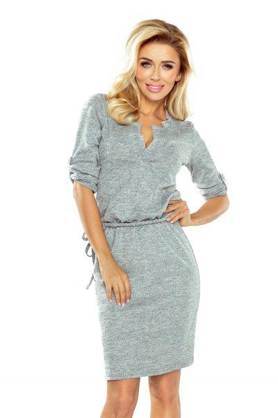 Sivé elegantné šaty s golierom