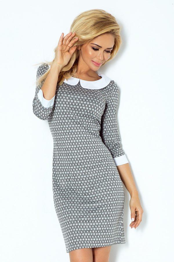 Sivé elegantné šaty s golierom a labyrint vzorom