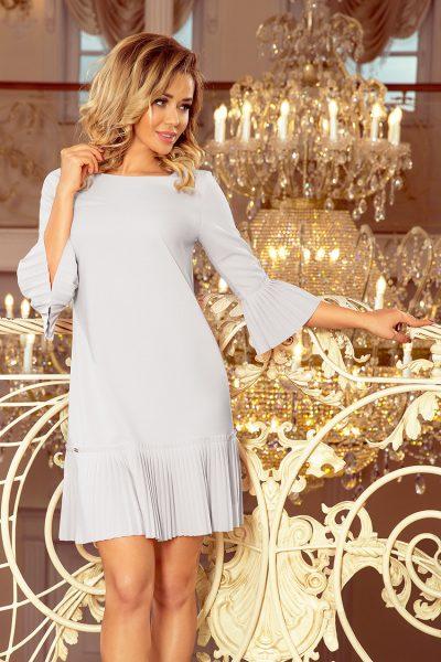 Sivé elegantné krátke šaty s rozšírenými rukávmi