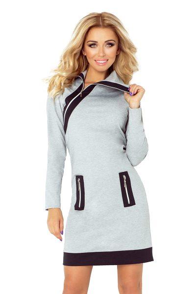 Sivé krátke šaty s čiernymi zipsami