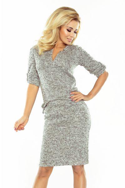 Sivé svetrové elegantné šaty s golierom