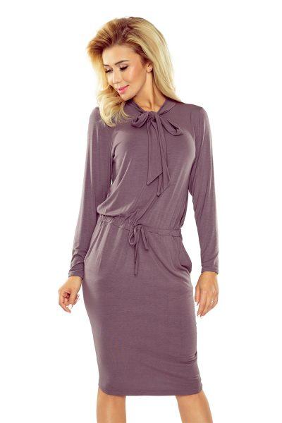 Slivkové voľné šaty s viazaním pod krkom a okolo pása