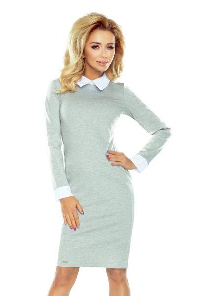 Strieborno sivé šaty s bielym límcom a manžetami