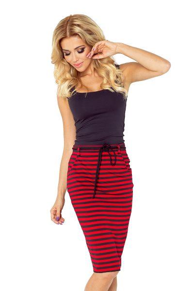 Sukňa s vreckami a sťahovacou šnúrkou - červeno čierne pruhy