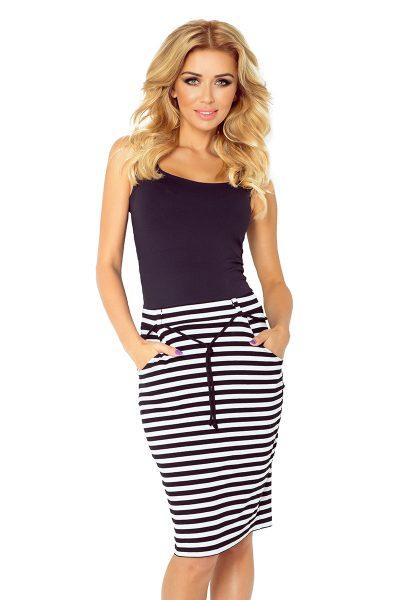Sukňa s vreckami a sťahovacou šnúrkou - biele a čierne pruhy