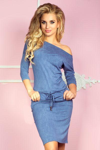 Modré rifľové športové šaty s vreckami