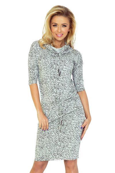 Svetlo sivé športové šaty s golierom a vreckami a textom