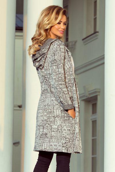 Teplý sveter s kapucňou a vreckami - vzor CITY