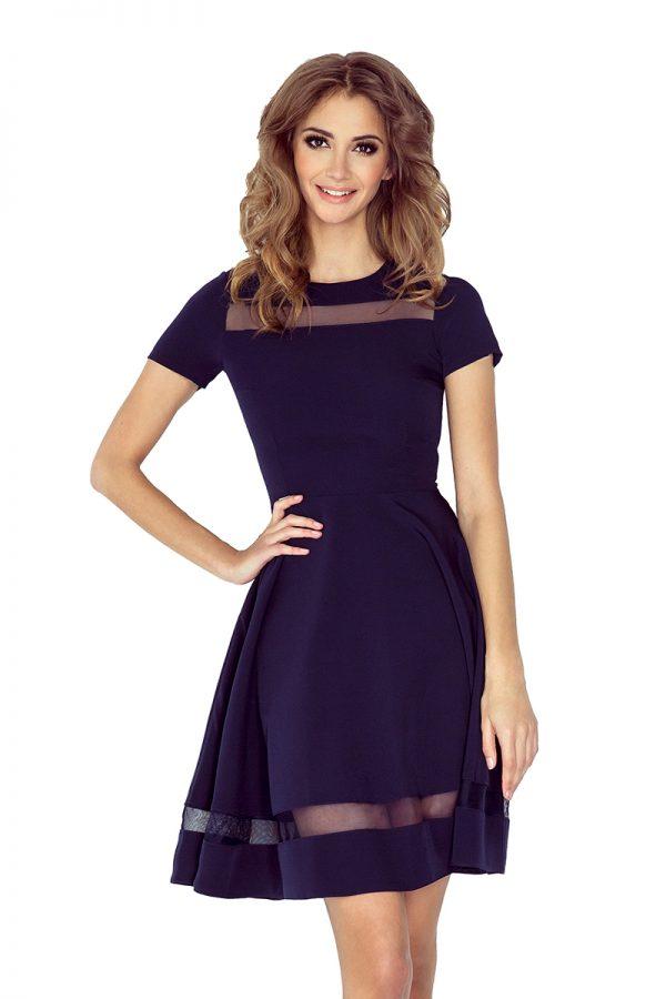 Tmavo modré šaty s priesvytnými pásmi