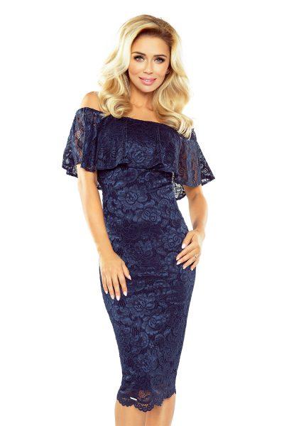 Tmavo modré španielske čipkované šaty