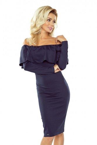 Tmavo modré španielske čipkované šaty so spadnutými ramenami a dlhými rukávmi