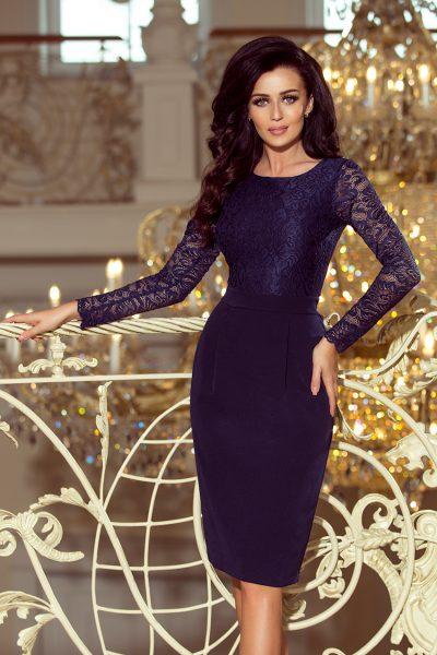 Tmavo modré elegantné čipkované šaty